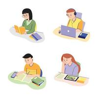 Children Characters Studying vector