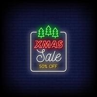 Xmas Sale Neon Signs Style Text Vector