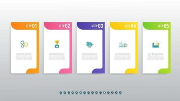 Creative concept 5-step infographic template vector