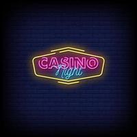 vector de texto de estilo de letreros de neón de noche de casino
