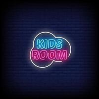 Kids Room Neon Signs Style Text Vector