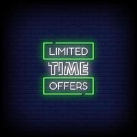 tiempo limitado ofrece letreros de neón estilo vector de texto