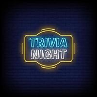 Trivia Night Neon Signs Style Text Vector