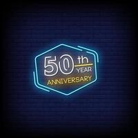 50 th year anniversary Neon Signs Style Text Vector