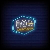 50 aniversario de letreros de neón estilo vector de texto