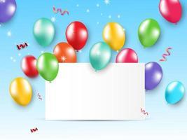 tarjeta de diseño fiesta globos brillantes sobre fondo azul.