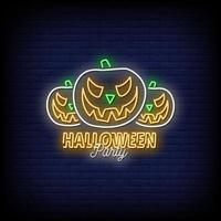 Halloween Party Neon Signs Style Text Vector