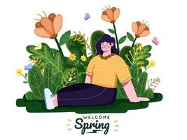 People enjoying spring seasons with floral background. It's spring time. Spring is coming. Break or vacation. Enjoy spring holiday at park with beautiful flower. Suitable for greeting card, postcard, invitation, banner, web, poster, flyer, etc. vector