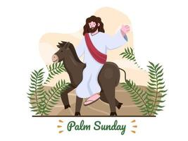 Palm Sunday illustration with Jesus ride a donkey and with palm leaves. Jesus riding donkey entering Jerusalem. Christian Palm Sunday religious holiday. Suitable for greeting card, banner, postcard, web, etc