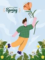 Spring beautiful flowers illustration. Flying with flower at spring seasons illustration concept. Hello spring. Welcome Spring. Cute spring cartoon with flowers. Can be used for Greeting card, postcard, banner, poster, print, etc vector