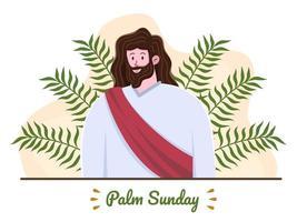 Ilustración de vacaciones de domingo de ramos de vacaciones de religión cristiana. saludo feliz domingo de ramos. se puede utilizar para tarjetas de felicitación, pancartas, invitaciones, carteles, folletos, presentaciones, animaciones, etc. vector