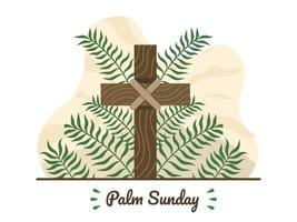 Happy Palm Sunday with Christian cross and palm leaves. Christian Palm Sunday religious holiday with palm branches and wood cross. Suitable for greeting card, invitation, banner, flyer, poster.