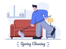 Ilustración plana de limpieza de primavera con gente limpiando el suelo. limpieza de la casa en primavera. hogar limpiar primavera. se puede utilizar para carteles, pancartas, tarjetas de felicitación, postales, presentaciones, animaciones, web. vector