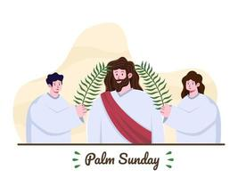 Palm Sunday. Jesus entering Jerusalem and People greeting him with palm leaves. Jesus comes to Jerusalem as King. Christian Religious holiday. Christian Biblical story illustration.