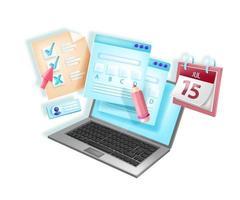 examen en línea, ilustración de e-learning de prueba web de vector
