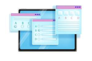 Ilustración de vector de examen en línea, prueba de educación en internet