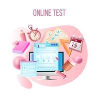 prueba en línea de vector, examen de curso de internet, concepto de e-learning de educación web vector