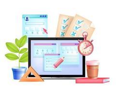 examen en línea, prueba de internet vectorial, educación digital, ilustración 3d de e-learning vector