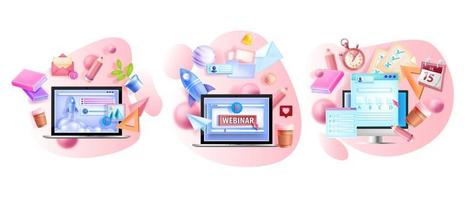Online vector training illustration set, remote education isolated concepts