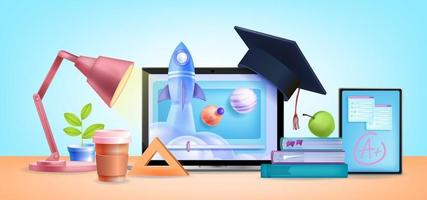 Online education school, internet university training courses background vector