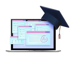 examen en línea, ilustración de educación de prueba de vector de internet