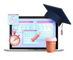examen en línea, prueba de vector de internet educación concepto 3d