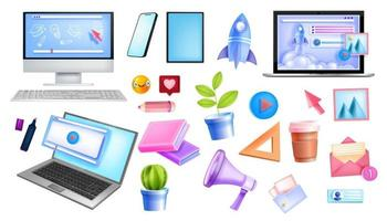 Online education, internet freelance network, home office vector collection