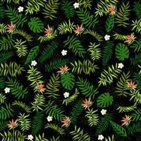 Seamless green leaves and exotic flowers. Tropical background. Print for web, fabric and wrapping paper. vector