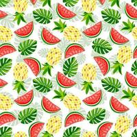Summer fruit and leaves seamless pattern. Pineapple, watermelon, monstera and strawberry vector print. Texture for printing on summer textiles and phone case.