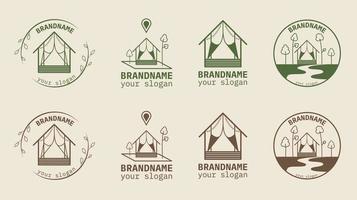 logotipo de la casa para hotel ecológico ubicado en el bosque ilustraciones vectoriales.