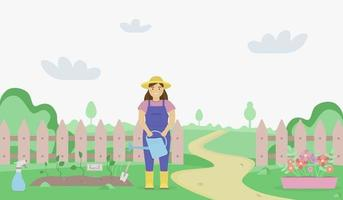 Flat illustration of a green garden landscape with a woman watering the garden beds. Summer and spring illustration. Happy hobby time in the garden. vector
