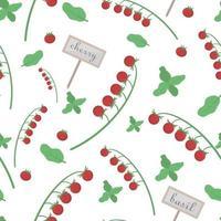 fondo con tomates y tomates cherry, albahaca para uso de diseño en el envasado de alimentos. cereza de patrones sin fisuras. ilustración vectorial. vector