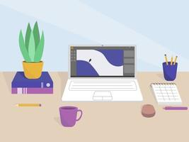 Flat illustration of a desktop in the office or a freelancer from home. Work interior design elements. vector