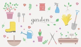 Gardening tools set. Vector illustration of garden elements.
