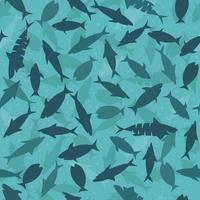 Blue funny print with sharks and fish. Print for fabric and wrapping paper.