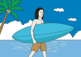 A guy carrying a surfboard vector