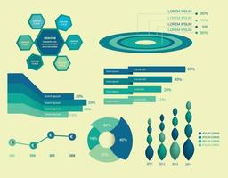 set of infographics elements on blue color vector