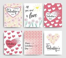 Collection of pink, black, white colored Valentine's day card templates with lettering. Typography poster, card, label, banner design set. Vector illustration EPS10