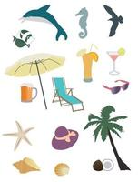 vector set of summer and beach items. beach logos isolated on white background