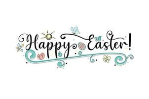 Hand lettering Happy Easter greeting card. vector
