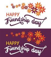 Friendship day hand lettering text on white and dark background. Happy friendship day greeting card, invitation, poster or T-shirt design. vector