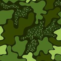 Camouflage print green seamless graphic backdrop. Creative vector texture. Green repeated color vector camouflage with squares. Khaki camouflage. Seamless Pattern.