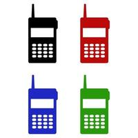 Set Of Walkie Talkie On White Background vector