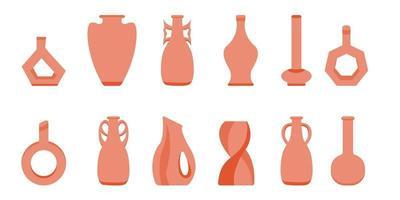 mano dibujar jarrón de cerámica, vajilla de barro y ollas. collage de moda para la decoración en estilo ecológico. vector