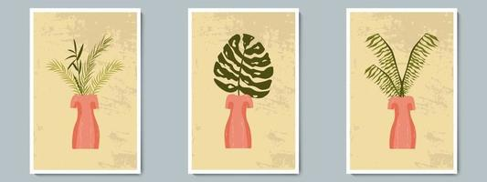 Hand Draw Unusual Woman Figure Pottery Vase with Tropical Plants. Trendy Collage for Decoration in Greek Style. vector