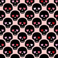 Black skull with eyes like a hearts. Funny romantic seamless pattern. Pattern for fabric or wrapping paper design. vector