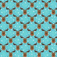 Seamless funny pattern with head of deer on stars background. vector