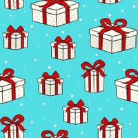 Christmas design with gift boxes with red bow. Print for wrapping paper and holiday design elements. vector