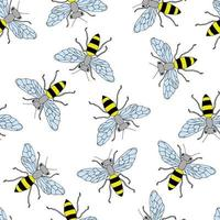 Sketch bee seamless pattern. Funny background with insects. Hand drawn design for wrapping, textile or honey package. vector