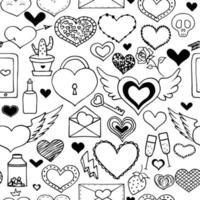 esbozar varios corazones y elementos sobre el tema del romance. patrón de corazón transparente. vector
